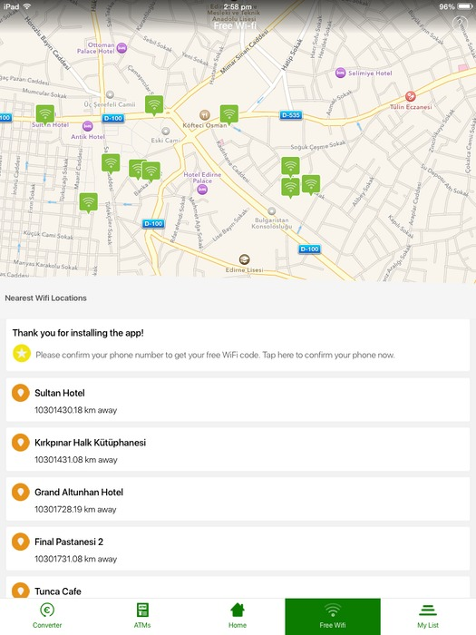 Unlock Turkey Mobile App Get Free WiFi For Your Vacation In Turkey - Free wifi near me map
