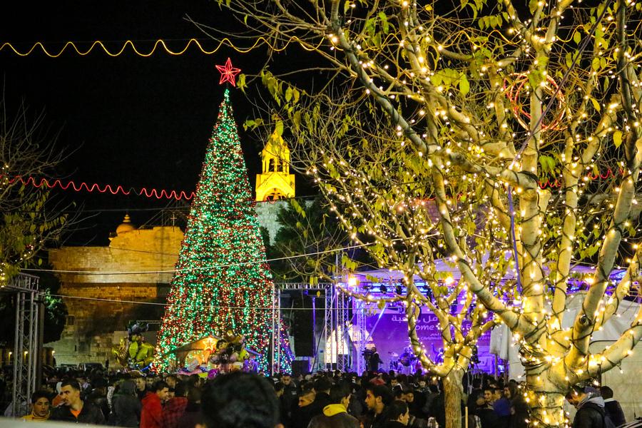 Suasana perayaan Natal di Betlehem, Palestina