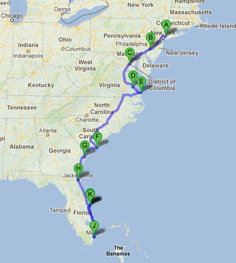 Road trip along the east coast of usa for Map of east coast of florida