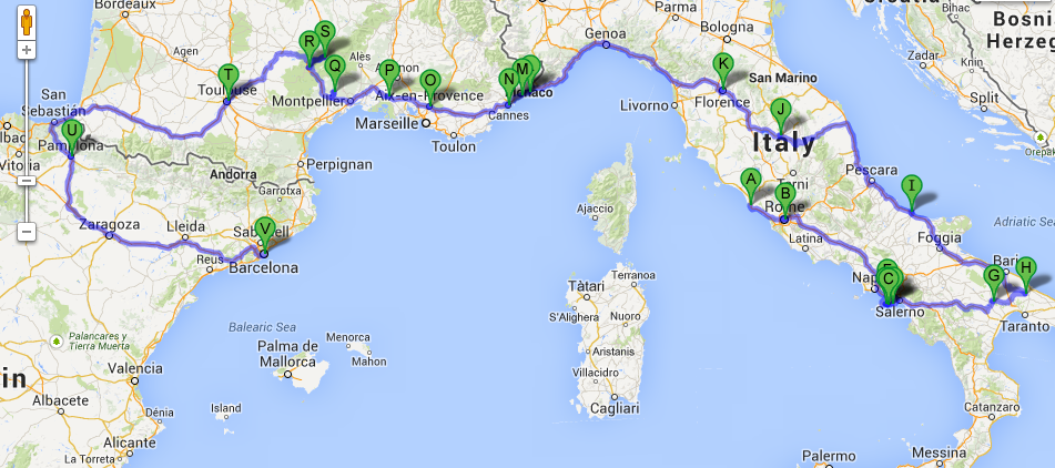 Map Of South Of Italy.Southern Europe Road Trip 18 Days Across Italy France Spain